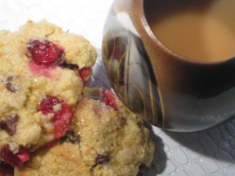 cranberry chocolate scone with tea