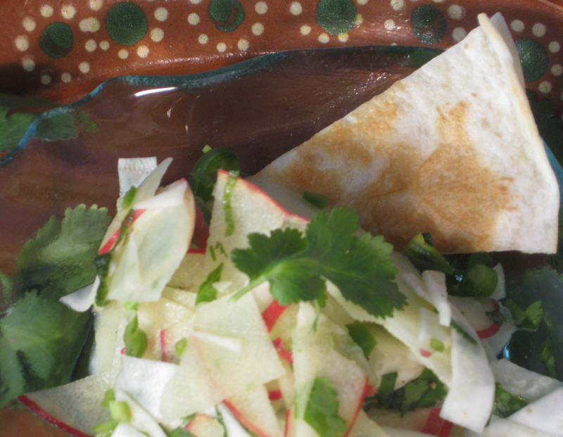 Apple-Celeriac pico de gallo with quesadilla wedge