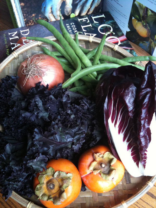 onion, purple kale, green beans, radicchio, persimmons